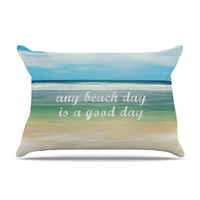 "Sylvia Cook ""Any Beach Day"" Coastal Typography Pillow Case"