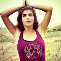 SUNSET OMBRE BUDDHA Yoga Racerback Tank Top