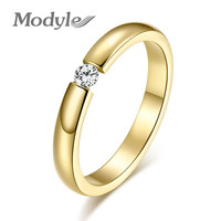 Gold-Color Stainless Steel Ring for Women and Men Zircon Wedding Ring