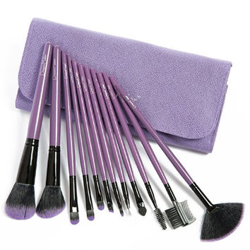 Cosmetic 12 Pcs Fiber Makeup Brushes Set with Twill PU Brush Bag