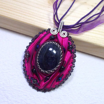 Purple Iolite Shibori Silk Statement Pendant Necklace, Silver Wire Wrapped Jewelry with Bead Embroidery and Shibori Silk, OOAK