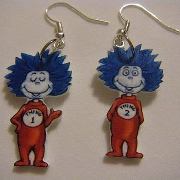 Thing 1 and Thing 2 Earrings Dr. Seuss Cat in the Hat