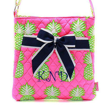 Monogrammed Navy and Pink Pineapple Crossbody Bag  Monogrammed Messenger Bag  Monogrammed Hipster