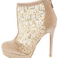 See Through Sequin Natural Booties