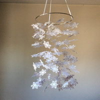 Snowflake paper mobile. Baby Nursery mobile, Crib mobile. Boy/Girl/Teen/Tween mobile. Let it snow, Happy Holidays. Choose Your Colors!