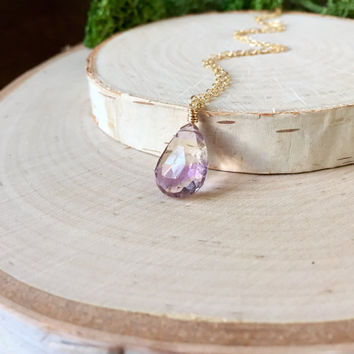 Beautiful, Faceted Ametrine Gemstone Briolette with Lavender and Champagne Colors in 14k Gold Fill, Dainty Chain, Simple Layering Necklace