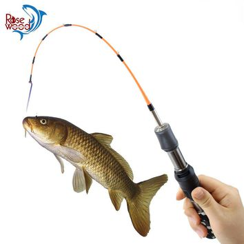 RoseWood 2 Section Winter Lightweight Ice Fishing Pole Short Ice Fishing Rods Carbon Fiber Mini Spinning Rod Tackle