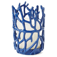 "One Kings Lane - Be the Best Guest - 7"" Coral Candleholder, Blue"