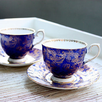 Vintage Elizabethan Fine Bone China English Tea Footed Cup And Saucer Set/Coffee Cup/Tea Set/Bridal Gift/Tea Party/Cobalt Blue/English Tea