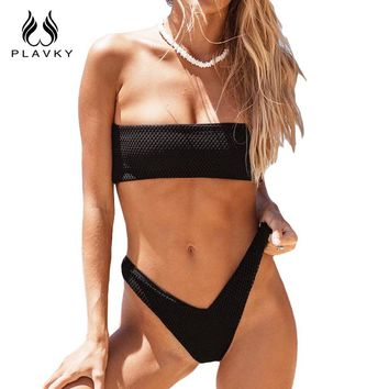 PLAVKY 2017 Sexy Black Mesh Bandeau Biquini High Cut Swim Wear Bathing Suit Strapless Swimsuit Swimwear Women Brazilian Bikini