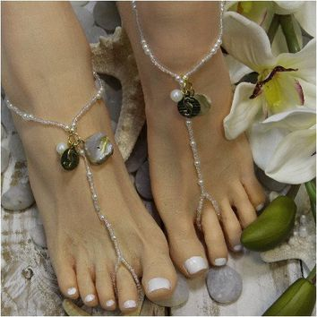SEAHORSE beaded barefoot sandals