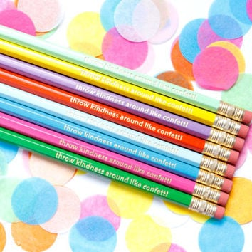 Throw Kindness Around Like Confetti, Set of 8 Hex Pencils, Gold Foil Pencils, Engraved Pencils, Imprint Pencils
