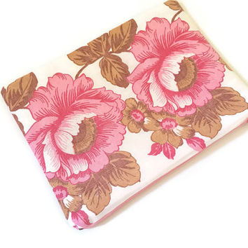 Floral Zip Pouch - Pink Floral Pencil Case - Cosmetic Case - Romantic Purse - Girls Accessory - Makeup Bag - Roses Pouch - Gift Idea for Her
