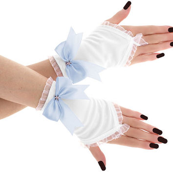 White blue short fingerless gloves, romantic wedding wrist warmers , womens evening gloves, bridal goth glove, victorian lolita glove  07951