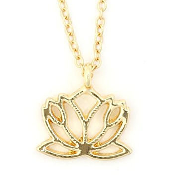 Lotus Flower Outline Necklace Gold Tone NU59 Buddhist Yoga Charm Pendant Fashion Jewelry