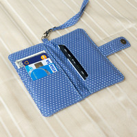 IPHONE WALLET Blue Polka Dot Card Holder iPhone Purse iPhone Sleeve iPhone Pouch Samsung Galaxy S3 Galaxy S4 Note 2 Note 3