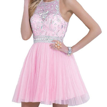 Homecoming Dress,Pink Lace Chiffon Straps Crystal Beadings Short Prom Dress