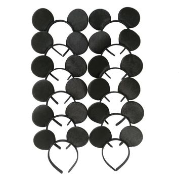Set of 12 Hair Accessories Minnie/Mickey  Ears Solid Black Headband Boys and Girls Headwear Birthday Party Celebration Event