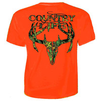 Sale Country Life Outfitters Orange Camo Realtree Deer Skull Head Hunt Vintage Unisex Bright T Shirt