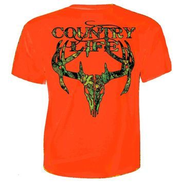 Country Life Outfitters Orange Camo Realtree Deer Skull Head Hunt Vintage Unisex Bright T Shirt