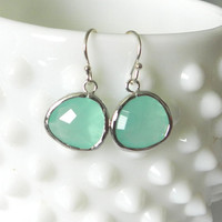 Mint glass earrings elise modern delicate by LemonSweetJewelry