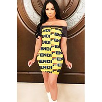 Fendi Women Summer New Fashion More Letter Print Contrast Color Leisure Strapless Shorts Sleeve Dress Yellow
