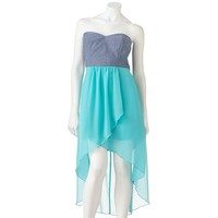 Trixxi Hi-Low Chambray Chiffon Strapless Dress