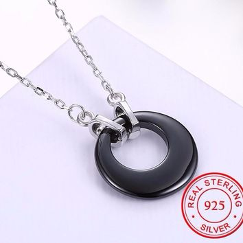 Delicate Black Ceramic Water-Drop/Round/Heart Pendants Necklaces 925 Sterling Silver Zircon Jewelry Accessories(TSN0251)