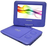 Sylvania SDVD7027 7-Inch Portable DVD Player with Car Bag/Kit, Swivel Screen, USB/SD Card Reader (Purple)