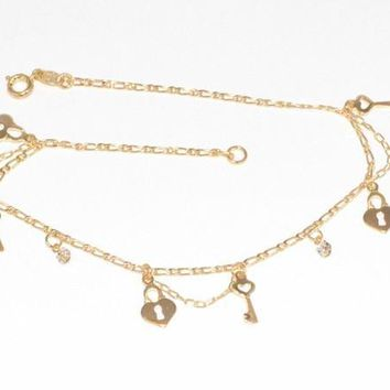 1-0094-f6 18kt Brazilian Gold Filled Heart Lock and Key Anklet with Crystals.