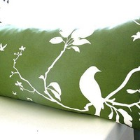 Olive Green Flying By Rectangle Pillow