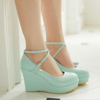 ONETOW Round head candy color high heels