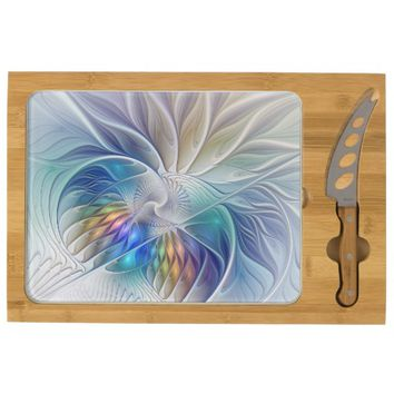 Floral Fantasy, abstract and modern Fractal Art Cheese Platter