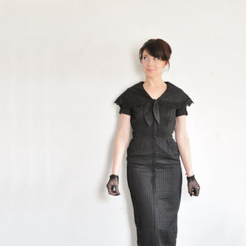1940 sailor secretary dress . mid century pin tucked black dress .extra small.xs