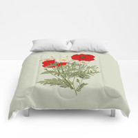A country garden flower bouquet -poppies and daisies Comforters by anipani