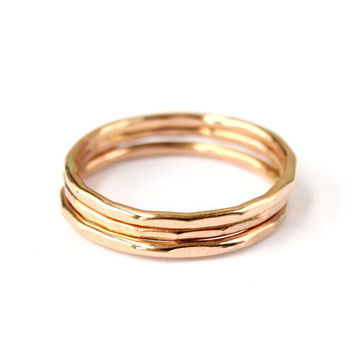 Gold filled stacking ring, hammered gold ring, thin ring, 1.3mm 16 gauge thick ring, 14 karat gold-filled, minimalist jewelry, handmade ring