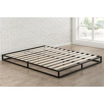 King Size 6-inch Low Profile Metal Platform Bed Frame with Wood Slat Mattress Foundation