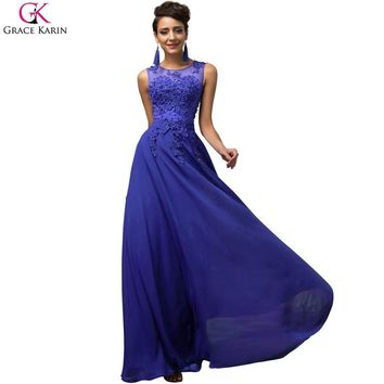 Grace Karin Long Evening Dresses Chiffon Sleeveless Elegant Formal Gowns Red Black Pink Purple Royal Blue Evening Party Dresses