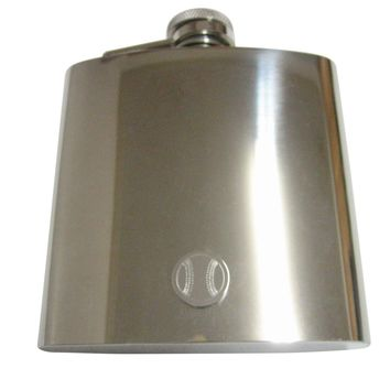 Silver Toned Etched Round Baseball Pendant 6 Oz. Stainless Steel Flask
