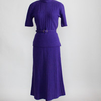 Vintage 1950s Purple Knit Skirt & Top Dress Set