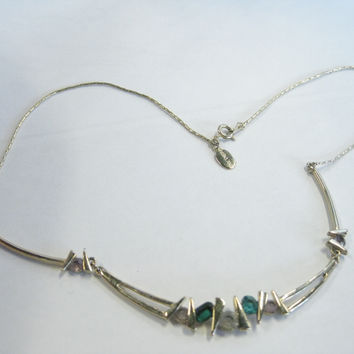 """Vintage Goldtone 16"""" Choker with Faux Emerald and Diamond Stones, signed Parkland"""