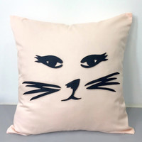 Sassy Cat Decorative Light Peach Pillow Cover. Pastel Cat Face Pillow