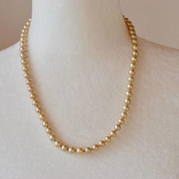 Vintage Glass Pearl Necklace 7mm Hand Knotted Cream Simulated Pearls Wedding Bridal Mid Century 1950's / Vintage Costume Jewelry