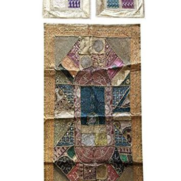 Mogul Interior Vintage Handmade Banjara Tapestry With Cushion Cover Patchwork Beaded Wall Hanging