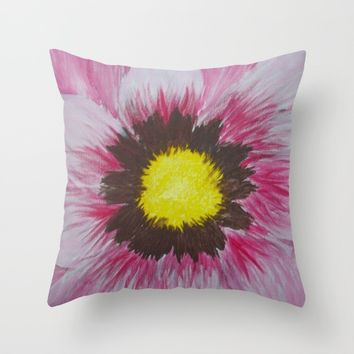 Pink Daisy Throw Pillow by Lindsay