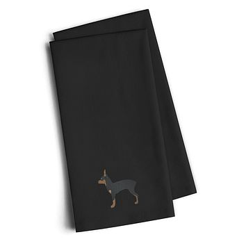 Toy Fox Terrier Black Embroidered Kitchen Towel Set of 2 BB3387BKTWE