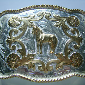 ALPACA MEXICO Stunning Rich Gold and Silver Plated Horse & Flower Embossed Ornate Detail Western Cowboy Style Men's Man Belt Buckle Handsome