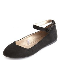 Sueded Ankle-Strap Ballet Flat: Charlotte Russe