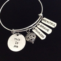 This is Me Word Quote on Expandable Adjustable Wire Bangle Bracelet Inspirational Gift Beautiful Brave Fearless Meaningful Trendy Stacking Silver Wire Bangle