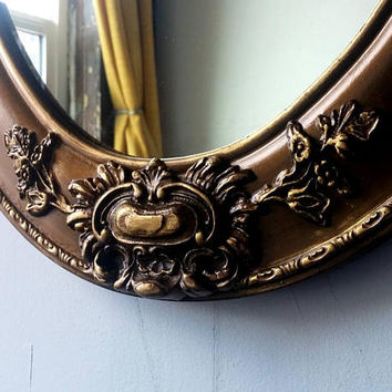 Large Antique Gold Mirror in Decorative Wood and Gesso Frame, Oval Bathroom, Vanity, Vintage Nursery, Hollywood Regency Wall Mirror